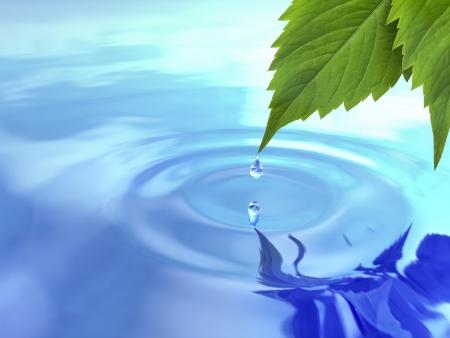 waterbesparing: Drop val van blad op rimpel water 3D Stockfoto