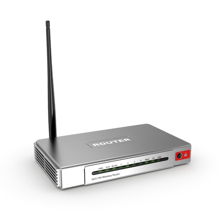 Wireless wifi Router on white isolated background  3d photo