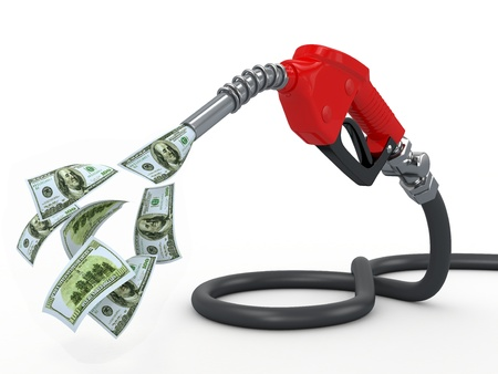 gas pump: Gas pump nozzle and dollar on white background  3d