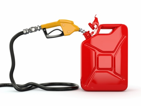 Gas pump nozzle and jerrycan on white background  3d photo