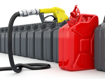 gas can: Gas pump nozzle and jerrycan on white background  3d