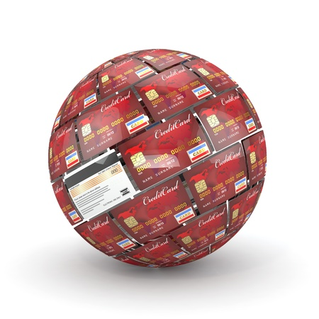 three dimensional accessibility: Sphere or globe from credit cards  3d Stock Photo