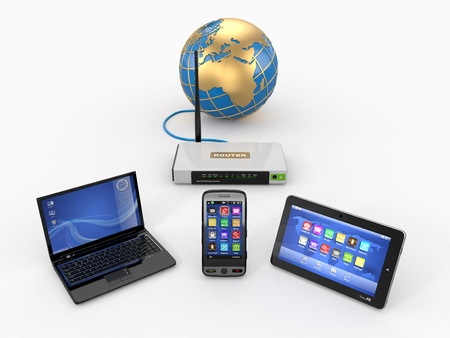 wireless network: Home wifi network  Internet via router on phone, laptop and tablet pc  3d