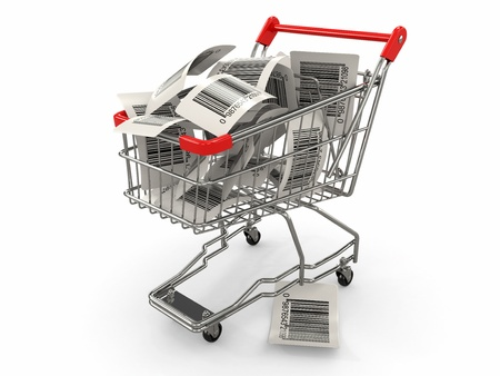 Shopping cart with barcode labels on white background  3d photo