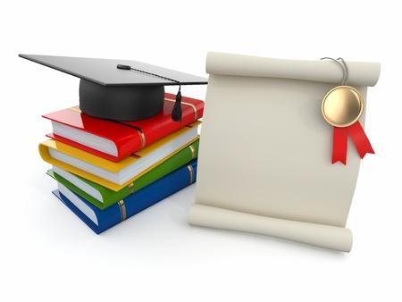 mortero: Graduación birrete, diploma y libros por espacio de texto 3d