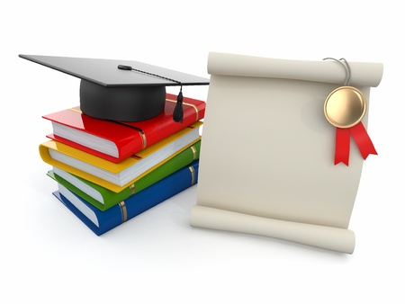rolled scroll: Graduation  Mortarboard, diploma and books  Space for text  3d
