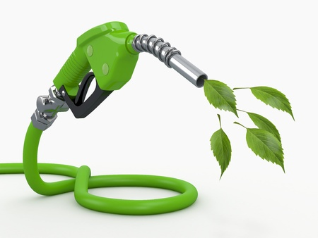 bio fuel: Green conservation  Gas pump nozzle and leaf  3d