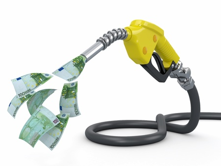 Gas pump nozzle and euro on white background  3d photo