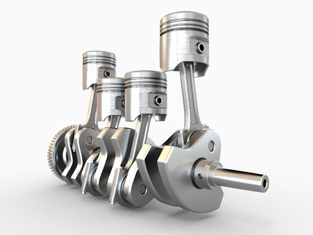 crankshaft: Pistons and crankshaft  four cylinder engine  3d