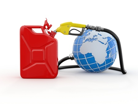 Earth, gas pump nozzle and canister  3d photo
