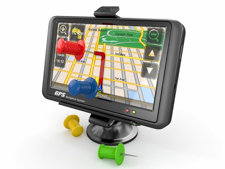 communications equipment: GPS  Global positioning system and thumbtacks  3d