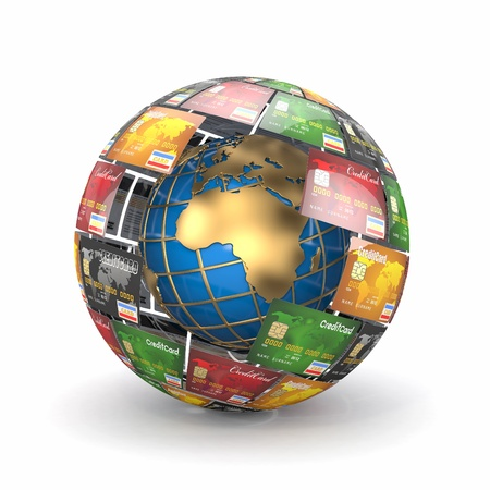 Earth in sphere from credit cards  3d photo