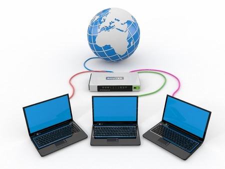 Home Network  Router and three laptops  3d Stock Photo - 13906406