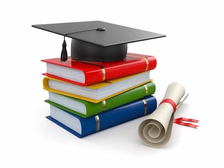 graduacion de universidad: Graduación. Birrete, diploma y libros sobre fondo blanco. 3d Foto de archivo