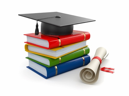 college graduation: Graduation. Mortarboard, diploma and books on white background. 3d