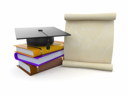 Graduation. Mortarboard, diploma and books. Space for text. 3d Stock Photo - 14007005