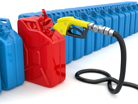 gallon: Gas pump nozzle and fuel can on white background. 3d