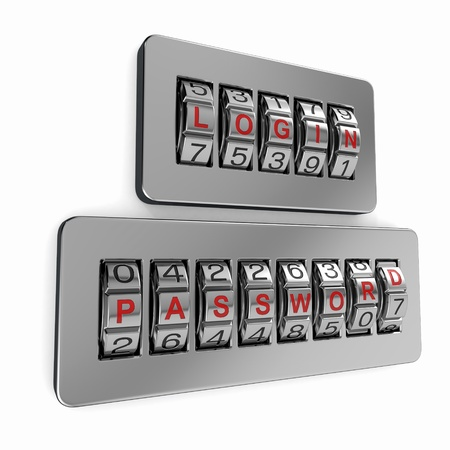 Login and  password as a combination system access. 3d Stock Photo - 14007004