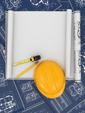 Construction concept. Hardhat, blueprint and rulers. 3d photo