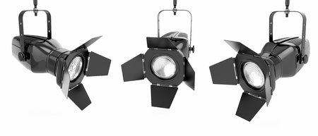 stage lighting: Spotlight or stage light on white isolated background  3d