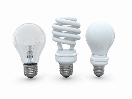 Three types of lamp bulbs on white background  3d Stock Photo - 14050687