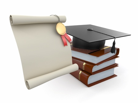 Graduation  Mortarboard, diploma and books  Space for text  3d Stock Photo - 14050669