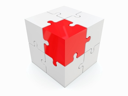 Abstract cube from puzzle on white background  3d photo