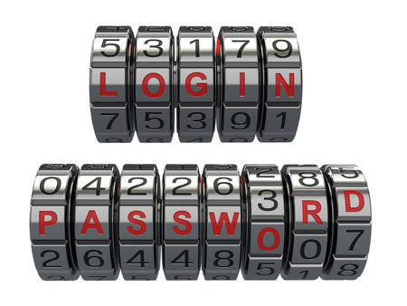 combination lock: Login and  password as a combination system access  3d Stock Photo