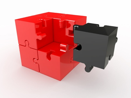 Abstract cube from puzzle on white background. 3d photo