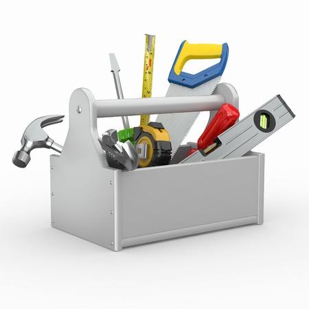 serrucho: Caja de herramientas con herramientas. Skrewdriver, martillo, serrucho y una llave. 3d Foto de archivo