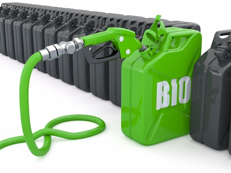 Biofuel. Gas pump nozzle and jerrycan. 3d photo