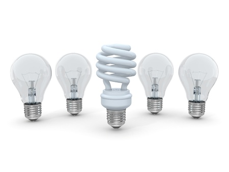 Three types of lamp bulbs on white background. 3d Stock Photo - 14210693