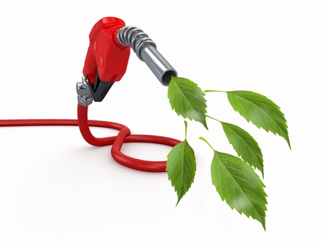 biofuel: Green conservation  Gas pump nozzle and leaf  3d