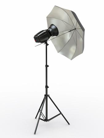 Studio lighting equipment  Flash and umbrella  3d photo
