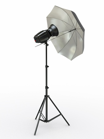 monolight: Studio lighting equipment  Flash and umbrella  3d