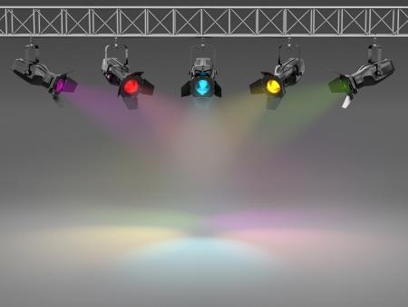 pared iluminada: Focos multicolores iluminan el espacio de pared 3d texto