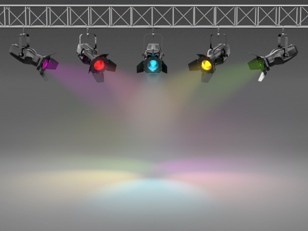 stage lighting: Multicolor spotlights illuminated wall  Space for text  3d
