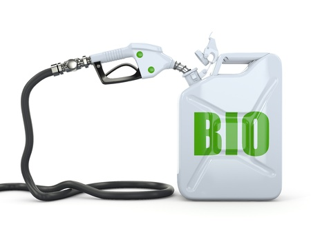 bio energy: Biofuel  Gas pump nozzle and jerrycan  3d Stock Photo