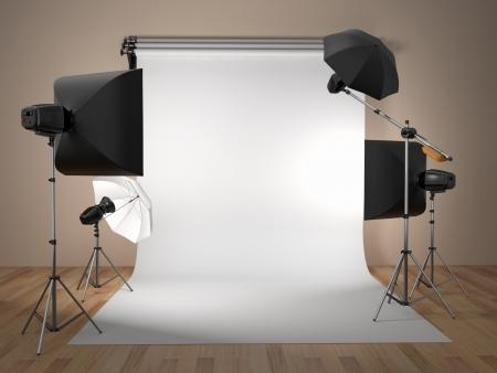 텍스트 3D에 사진 스튜디오 장비의 공간 스톡 콘텐츠