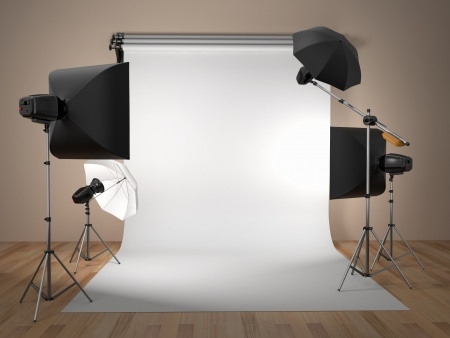 photo backdrop: Photo studio equipment  Space for text  3d Stock Photo