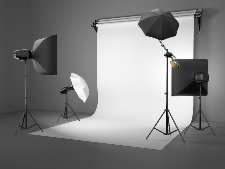 Photo studio equipment  Space for text  3d Stock Photo