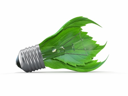 Ecology concept  Light bulb with leaf  3d Stock Photo - 14472755