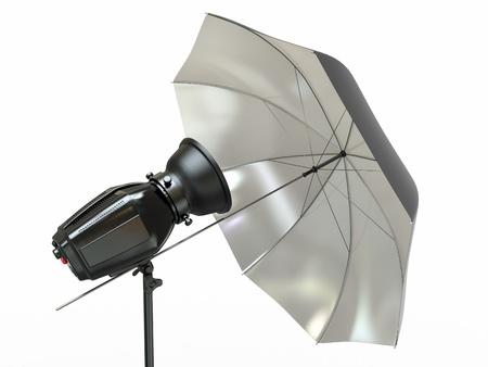 Studio lighting equipment  Flash and umbrella  3d photo