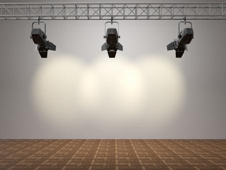 pallino: Faretti illumina lo spazio della parete per il 3D testo Archivio Fotografico