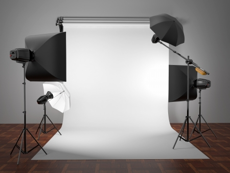 photo studio background: Photo studio equipment  Space for text  3d Stock Photo