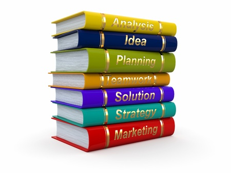 analisys: Business training  Economic books on white background  3d Stock Photo