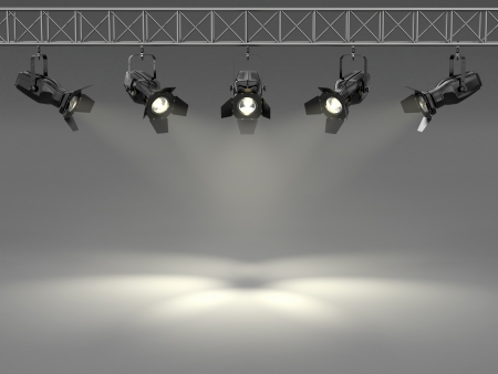 stage set: Spotlights illuminated wall  Space for text  3d Stock Photo