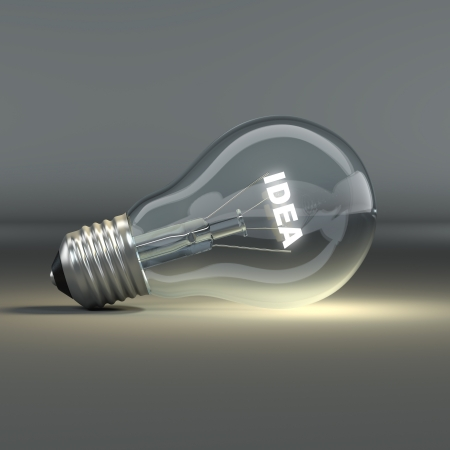 Light bulb with glowing text idea  3d photo