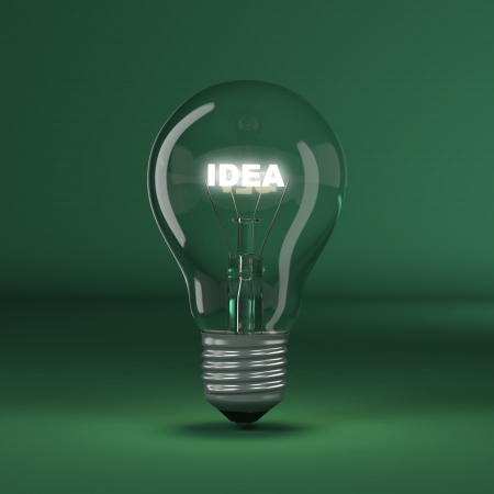 Light bulb with glowing text idea  3d Stock Photo - 14645137