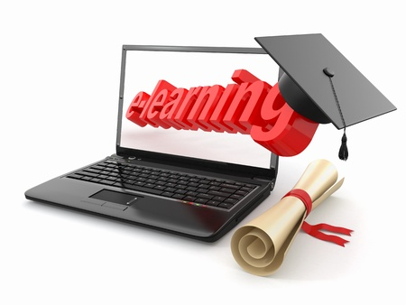 E-learning  Laptop, diploma and mortar board  3d Stock Photo - 14689952